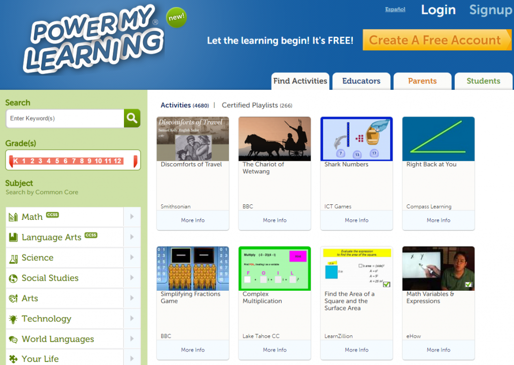 Power My Learning Activities Search Screenshot