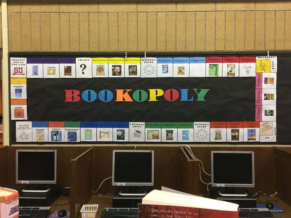 Bookopoly Reading Challenge Display