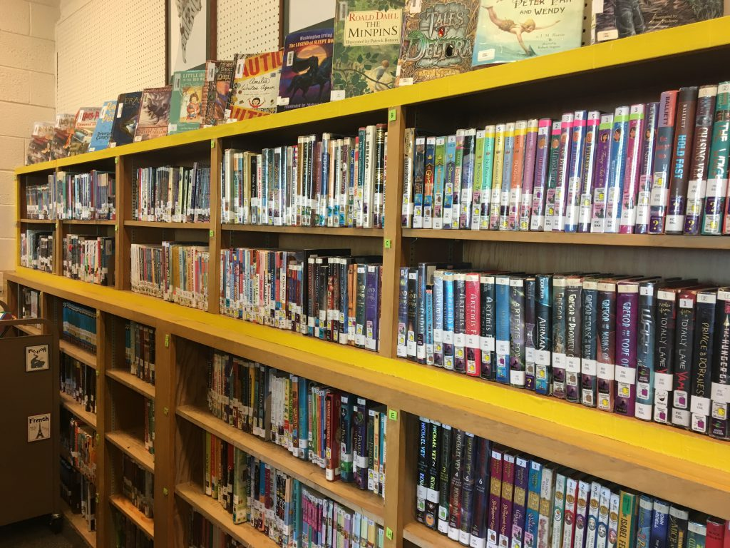 Fiction shelves at Morningside Elementary Media Center
