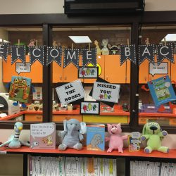 Welcome Back display at Fox Hills Elementary Media Center