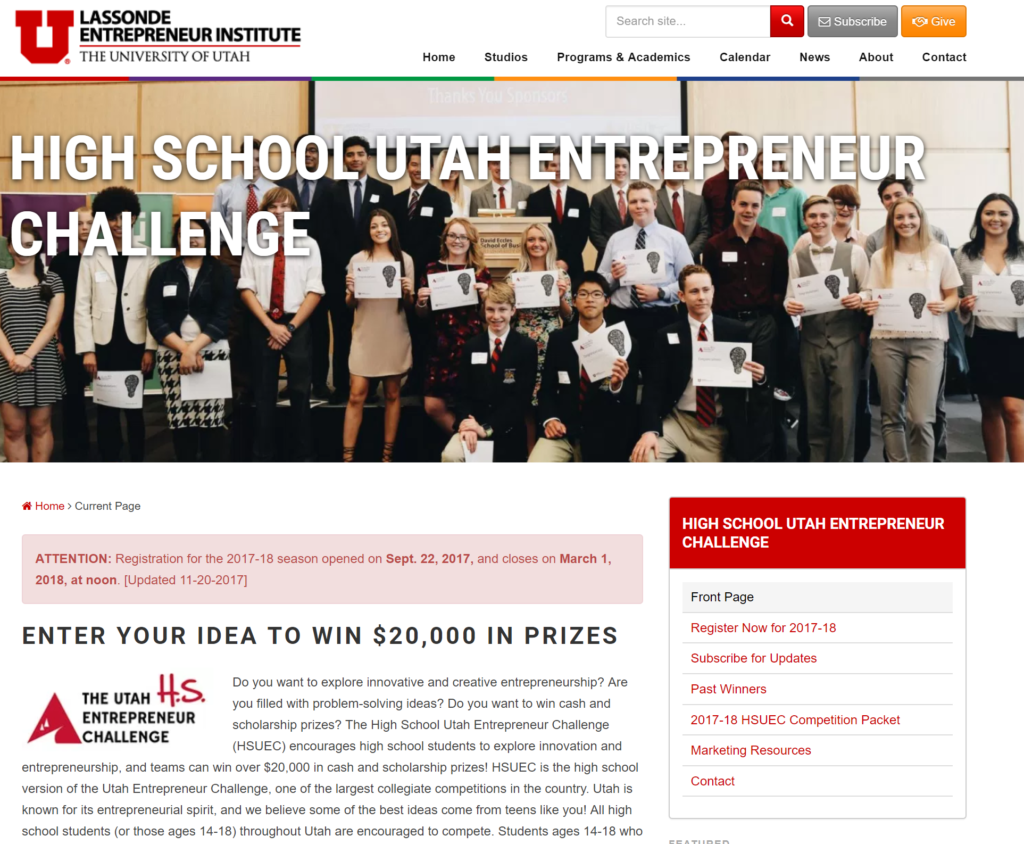 High School Utah Entrepreneur Challenge Web Page - Screenshot
