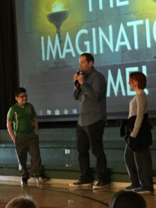 Author Brandon Mull presents to students at West Valley Elementary
