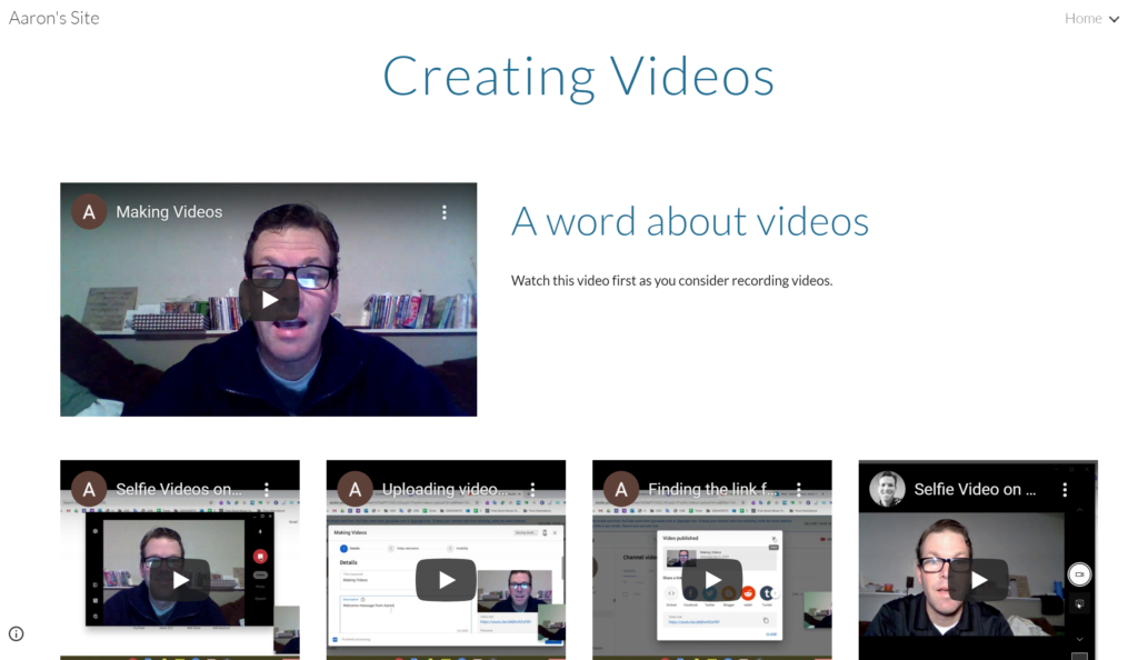 Aaron Kammerman's Creating Videos page for his teachers - Screenshot