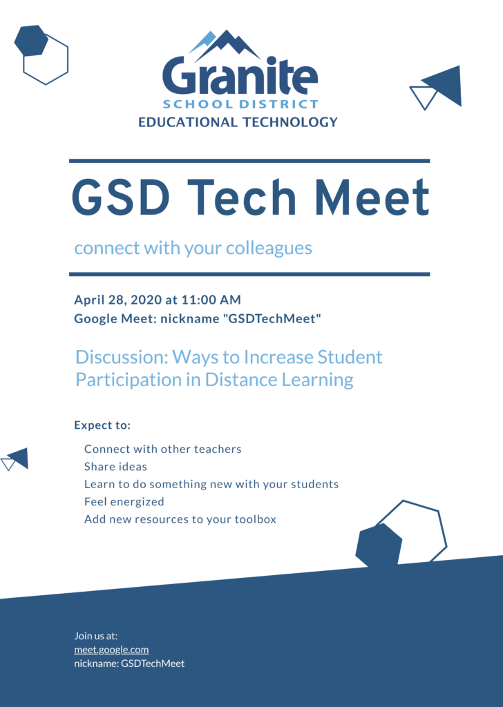 Flyer image for the GSD Tech Meet on 4/28/2020.
