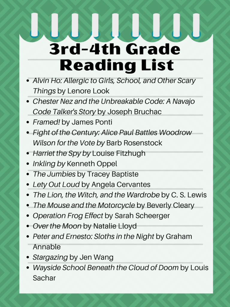 3rd-4th Grade Best Books Challenge Reading List, 2020-21