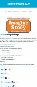 Salt Lake County Library 2020 Summer Reading Challenge Web Page - Screenshot