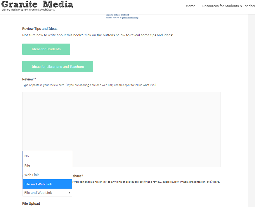 Granite Media Book Review Form - Screenshot