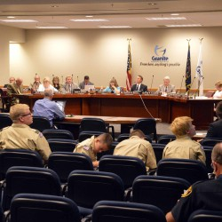 Photo of board of education meeting in August 2014