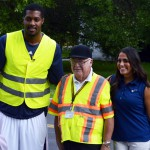 Photo of Utah Jazz player and cheerleader with crossing guard