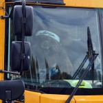 Photo of Utah Jazz mascot on school bus