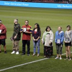 Photo of students and parents being recognized during Real Salt Lake match
