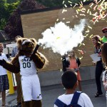 Photo of Utah Jazz mascot firing confetti cannon