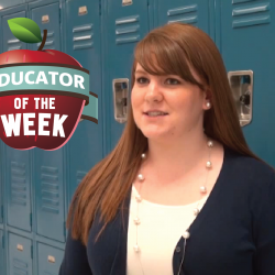 Photo of Brittany Sylvester with Educator of the Week logo