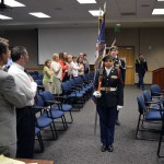 Photo of Taylorsville JROTC members presenting flag ceremony during board meeting