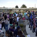 Photo of Stansbury families gathered in the school's new courtyard