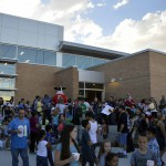 Photo of Stansbury Elementary parents and student during back-to-school night
