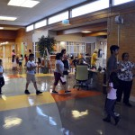 Photo of Stansbury Elementary families in hallway