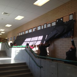Photo of Matheson Jr. High freedom shrine being uncovered