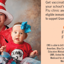 Photo of kid and babies in costumes with information on flu shot clinics