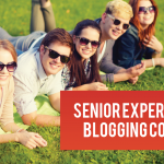 Photo of students laying on grass with text 'Senior Experience Blogging Corps'