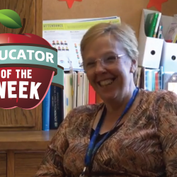 Photo of Deb Woolley with Educator of the Week logo