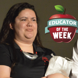 Photo of Keri Graybill with Educator of the Week logo