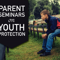 Photo of male student sitting on bench with text 'Parent Seminars on Youth Protection'