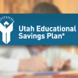 Utah Educational Savings Plan logo in front of image of student.