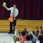 Photo of Jackling Elementary principal addressing students
