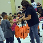 Photo of Jackling Elementary students receiving backpacks
