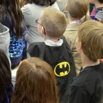 Photo of West Kearns student wearing Batman cape