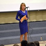 Photo of KSl anchor addressing Beehive Elementary students