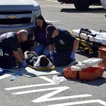 Photo of Mill Creek student participating in mock disaster drill