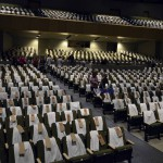 Photo of Olympus High auditorium covered in t-shirts