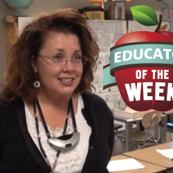 Photo of Laura Zimmerman with Educator of the Week logo