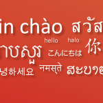 Asian languages greetings on red background