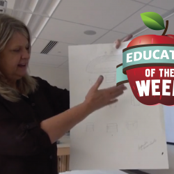 Photo of Liz Matthews with Educator of the Week logo