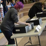 Photo of Hunter High students fixing computers