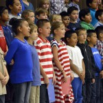 Photo of Pleasant Green students singing during assembly