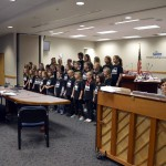 Photo of Rosecrest Elementary choir performing at board meeting