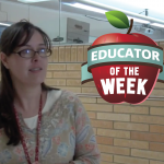 Photo of Trish Sargent with Educator of the Week logo