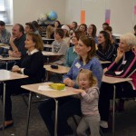 Photo of parents watching student presentation at Wasatch Jr High