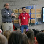 Photo of scientist addressing Armstrong Academy students