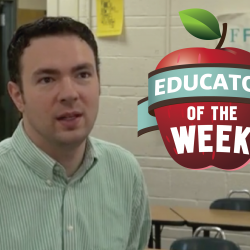 Photo of Will Pettit with Educator of the Week logo