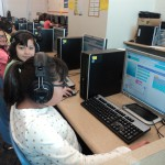Photo of students learning computer code during Hour of Code event