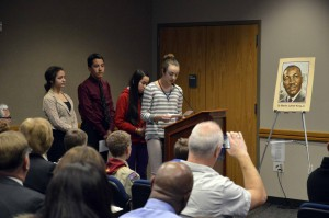 Photo of West Lake students giving speeches during board meeting