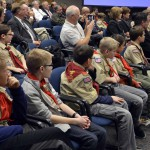 Photo of Boy Scouts at board meeting