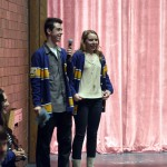 Photo of two Taylorsville High students addressing elementary students