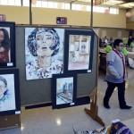 Photo of student work on display for Art Night Live