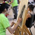 Photo of student drawing during Art Night Live